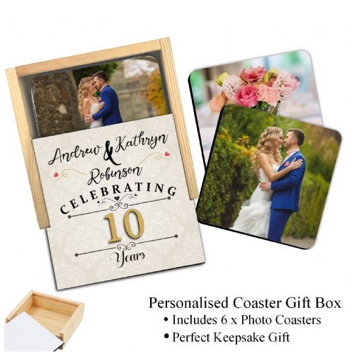 Personalised Wedding Anniversary Coaster Gift Box with 6 Photo Coasters N4 - Any Year